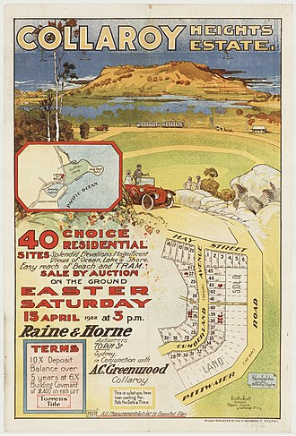 Collaroy, New South Wales - Collaroy Heights Estate, 1922, subdivision plan, printed by William Brooks and Co.