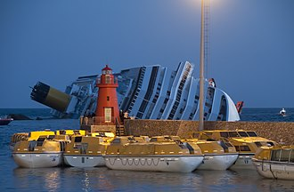 Lifeboat (shipboard) - Costa Concordia, shortly after capsizing with lifeboats at shore