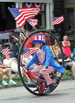 Monowheel - Keith Dufrane rides his monowheel in the 2011 Doo Dah Parade in Columbus, Ohio.