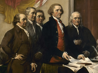 A Committee of Five, composed of John Adams, Thomas Jefferson, Benjamin Franklin, Roger Sherman, and Robert Livingston, drafted and presented to the Continental Congress what became known as the U.S. Declaration of Independence of July 4, 1776. Committee of Five, 1776.png