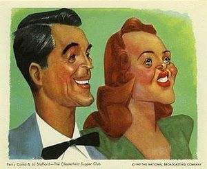 The Chesterfield Supper Club - Sam Berman caricature of Como and Stafford, 1947.