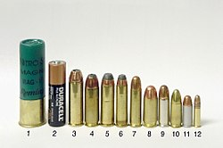 Common handgun cartridges. Left to right: 1) 3 inch 12 ga magnum shotgun shell 2) AA battery 3) .454 Casull 4) .45 Winchester Magnum 5) .44 Remington Magnum 6) .357 Magnum 7) .38 Special 8) .45 ACP 9) .38 Super 10) 9 mm Luger 11) .32 ACP 12) .22 LR