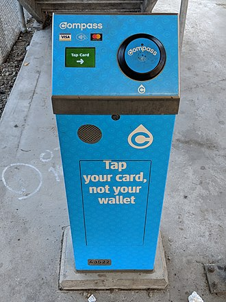 Compass Card (TransLink) - Compass card reader located on Spruce Street at Sapperton station