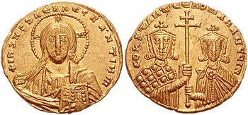 Gold solidus of Constantine VII and Romanus II.
