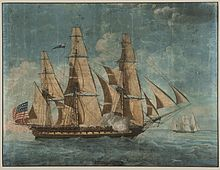 Painting of the frigate USS Constitution with three masts