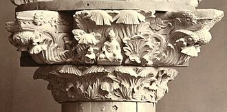 Indo-Corinthian capital - Figure of the Buddha, within a Corinthian capital, Gandhara, Jamal Garhi.