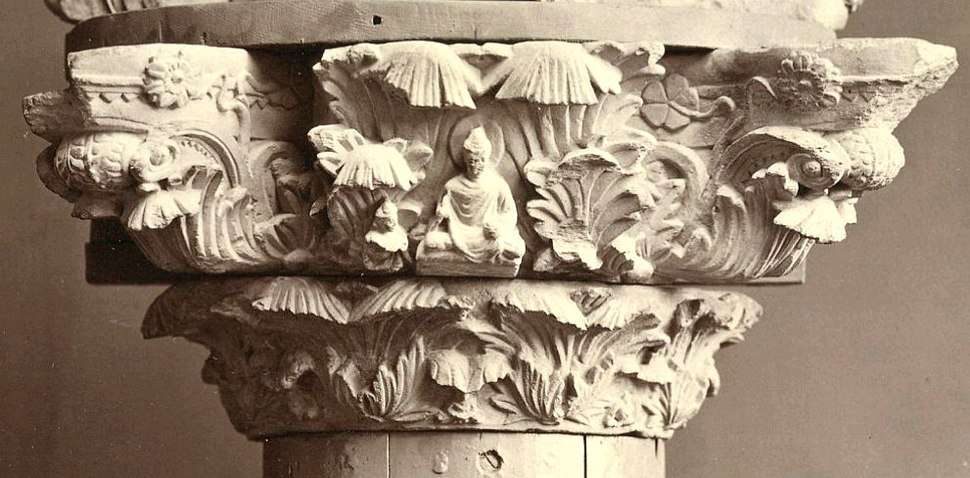 Corinthian capital with the Buddha in the center