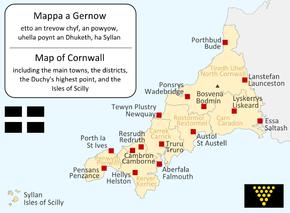 Mappa diwyethek ow tiskwedha ranndiryow ha trevow Kernow