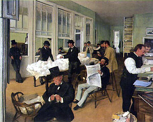New Orleans Cotton Exchange - A Cotton Office in New Orleans by Edgar Degas, 1873