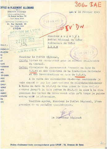Fichier courrier du 16 f vrier 1943 de l 39 office de - Office allemand d echanges universitaires ...
