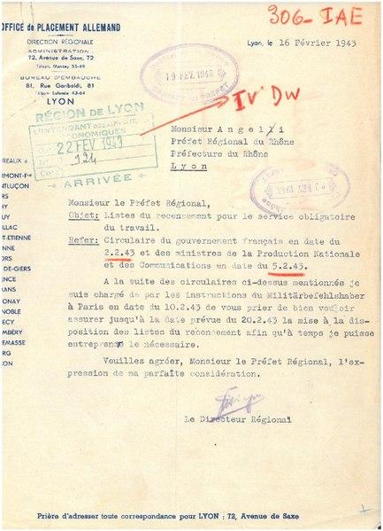 Fichier courrier du 16 f vrier 1943 de l 39 office de placement allemand sur les listes de - Office allemand d echanges universitaires ...