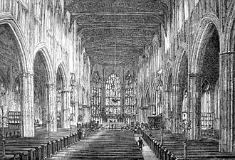 Coventry Cathedral - The interior of the old cathedral, c. 1880