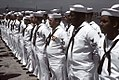 Crewmen of the guided missile frigate USS LEWIS B. PULLER (FFG-23) stand at parade rest during the commissioning ceremony for the ship - The U.S. National Archives (1982-04-17 & 1982-04-17).jpg