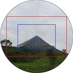 Der rote Rahmen markiert das Kleinbildformat innerhalb des Bildkreises eines Kleinbildobjektivs, der blaue das DX-Format