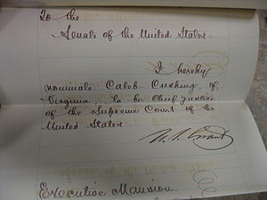 Caleb Cushing - Cushing's Chief Justice nomination