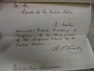 Caleb Cushing - Cushing's Chief Justice nomination