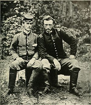 George Armstrong Custer - Custer with ex-classmate, friend, and captured Confederate prisoner, Lieutenant James Barroll Washington, an aide to General Johnston, at Fair Oaks, Virginia, 1862