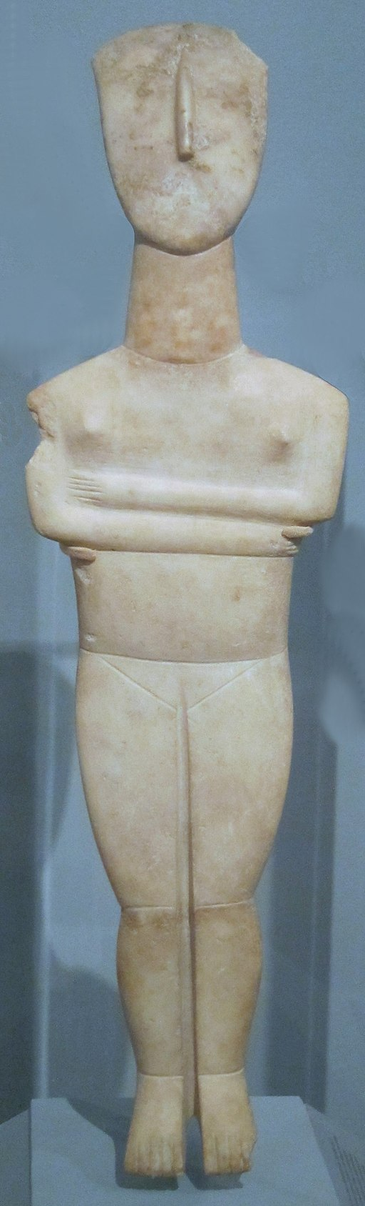 Cycladic, c. 2500-2400 B.C.E., White marble with traces of polychrome