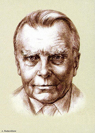 Czesław Miłosz - Lithuanian stamp, 100th anniversary of Miłosz's birth