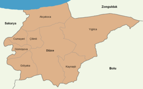 Düzce location districts.png