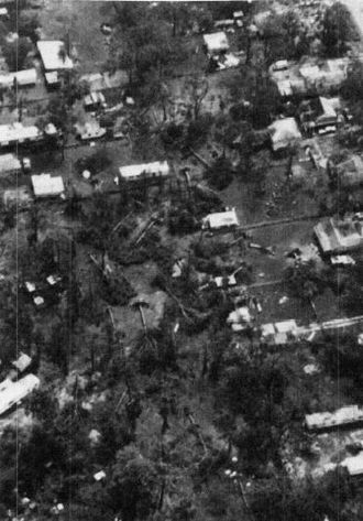 Hurricane Alicia - Wind damage from Alicia photographed from a National Oceanic and Atmospheric Administration helicopter