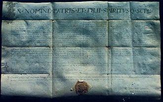 Trpimir I of Croatia - Latin charter of Duke Trpimir, dated to year 852