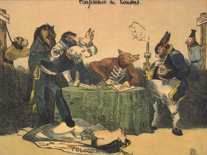 London Conference of 1830 - Lithograph on the London conference of 1830 by Honoré Daumier. One can see figures representing Prussia, Austria, Russia, Great Britain and France discussing on a text, while Holland and Belgium are hanging on the side.