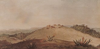 Ponta Grossa - Landscape portrayed by Debret, in the back shows the old village in 1820, it is noted that the referred high hill surrounded by some forest ahead a vast region dominated by fields