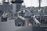 Deck crane of JS Nichinan(AGS-5105) left rear view at JMSDF Yokosuka Naval Base April 30, 2018 02.jpg