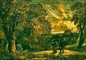 The Golden Bough (mythology) -  Deiphobe leading Aeneas in the underworld by Claude Lorrain, circa 1673.