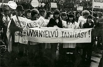 Ethnic clashes of Târgu Mureș - Demonstration for Hungarian education