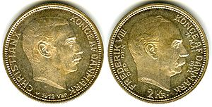 Commemorative coin - Denmark two kroner coin issued in 1912 commemorating the accession in that year of king Christian X. The king's late father, Frederik VIII is depicted on the reverse.
