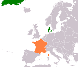Map indicating locations of Denmark and France