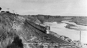 1936 in rail transport - Image: Denver Zephyr Mc Cook Nebraska 1936
