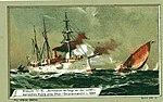 Der deutsche Kleine Kreuzer SMS Schwalbe verfolgt 1889 an der ostafrikanischen Küste eine Dhau mit Sklavenhändlern Zeitgenössische Darstellung.jpg