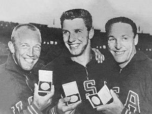 Athletics at the 1956 Summer Olympics – Men's discus throw - Left-right: Koch, Oerter, Gordien
