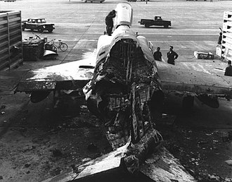 Tan Son Nhut Air Base - USAF F-4 Phantom II destroyed during a rocket attack on 18 February 1968
