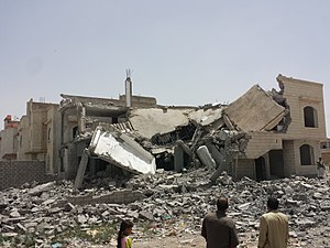 Yemeni Civil War (2015–present) - Destroyed house in the south of Sanaa, 13 June 2015