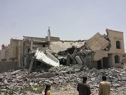 Destroyed house in Yemen., From WikimediaPhotos