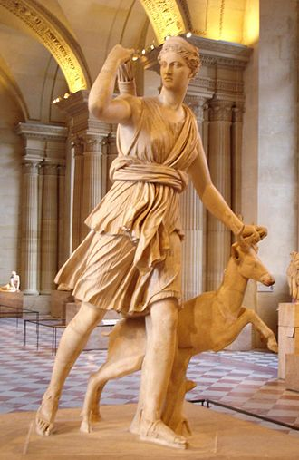 Artemis - The Diana of Versailles, a Roman copy of a Greek sculpture by Leochares (Louvre Museum)