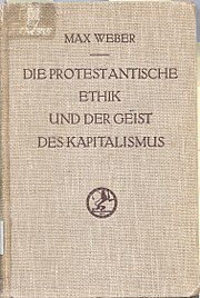 Cover of the original German edition of The Protestant Ethic and the Spirit of Capitalism.