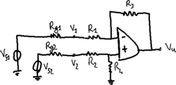 Differential amplifier with non-ideal generators.png