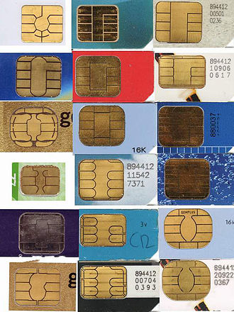 Smart card - Contact-type smart cards may have many different contact pad layouts, such as these SIMs