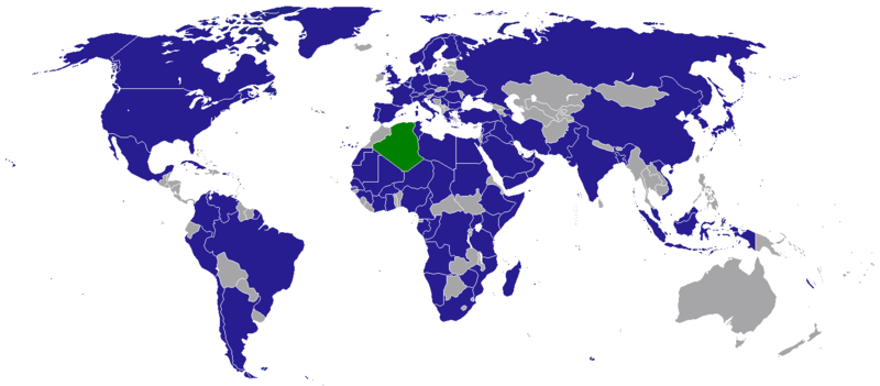Map of diplomatic missions in Algeria