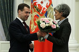 Claudie Haigneré - Haigneré receives the Medal for Merits in Space Exploration from Russian President Dmitry Medvedev on 12 April 2011 at the Moscow Kremlin.