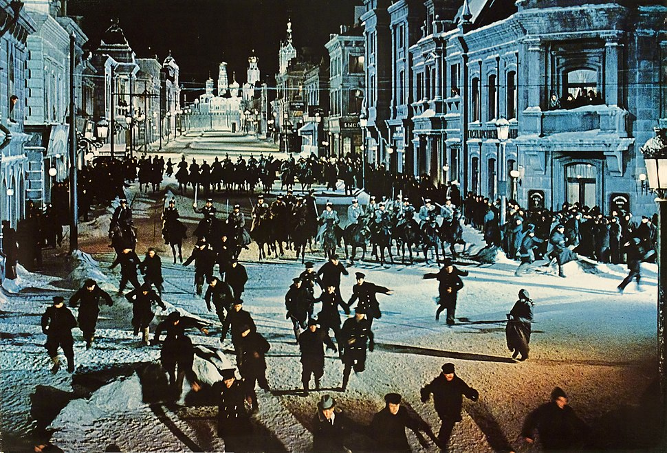 Doctor Zhivago (film)-The Cossacks attack a peaceful demonstration