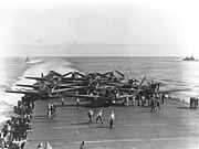 Douglas TBD-1 Devastators of VT-6 are spotted for launch aboard USS Enterprise (CV-6) on 4 June 1942 (80-G-41686)