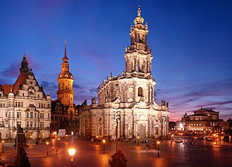 Dresden Cathedral - Katholische Hofkirche with Dresden Castle on the left and Semperoper on the right.