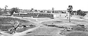 Great Mosque of Djenné - Seku Amadu's mosque from the southwest as it looked in 1895. From Félix Dubois' Tombouctou la Mystérieuse.