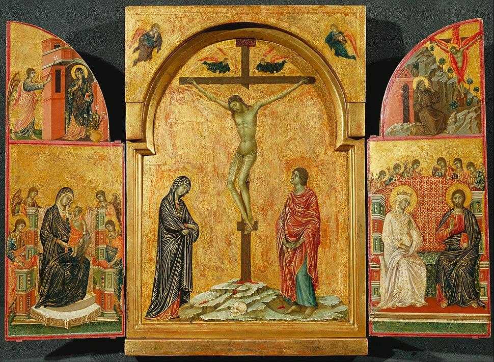 Duccio - Triptych- Crucifixion and other Scenes - Google Art Project